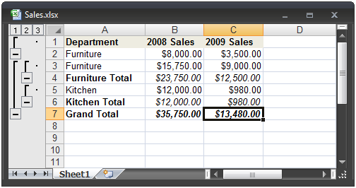 how to add subtotals in excel in one colum